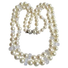 Vintage 14K WG Diamond Clasp with Double 2 strand Fine AA Quality Graduated Large Cultured Pearl 9.5mm and Rock Crystal Bead Necklace