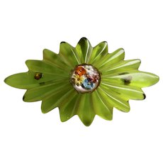 Art Deco Prystal Bright Green, Hand Carved with Glass Floral Center Bakelite Bookpiece Brooch