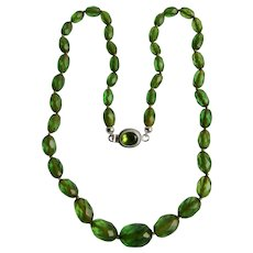 Vintage Facetted Transparent Green Galalith Graduated Bead 850 Silver Peridot Facetted Oval Gem Necklace