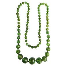 Vintage Green Transparent Galalith Graduated Eternity Facetted Bead Long Necklace