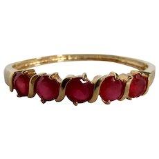 Vintage Lab Created Ruby Gems Semi-Channel & Double Prong Set GP Hinge Bangle Bracelet