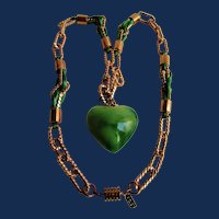 Vintage Signed Kenneth Lane Green Silk Cord and 22kt GP Chain and Resin Puffy Green Heart Necklace