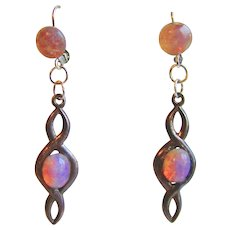 Vintage Sterling Silver and Glass Opal Drop Lever back Earrings