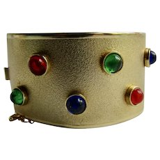 Vintage Christmas Lights GP Brushed Finish Hinge Cuff Locking Style Cabochon Bracelet