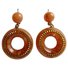Vintage Peachy Pink Bakelite Marbled Cabochon and Hoop Style with Gold Plated Trim and Lever Back Drop Pierced Earrings