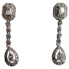 Vintage Sterling Cubic Zirconia Emerald Cut and Round Cut Gemstone Pierced Dangling Earrings