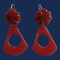 Little Creations Red Bakelite Carved Cabochon and Carved Red Bakelite Drop GP Leverback Pierced Earrings