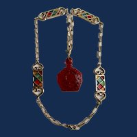 LC Red Transparent Lucite Perfume Bottle Pendant on Guilloche Enamel Station Gold Plate Heavy Chain Necklace