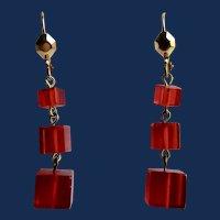 Art Deco Red Transparent Graduating Bakelite Cubed Pierced Earrings