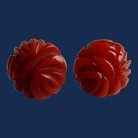Art Deco Carved Coral Red Bakelite Pierced Post Earrings