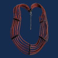 Vintage Dyed Red Coconut Shell Heishi Bead 10 Strand Necklace with Horn Sections as Holders