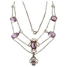 Antique Victorian Gilt Festoon Amethyst Gems Natural Baroque Pearl Necklace