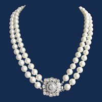 Vintage Mallorca Faux Simulated Pearls Double Strands with YAG Gems Silver British Hallmark Tudor Rose Style Clasp Necklace