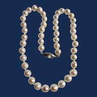 Vintage Natural Pearl Semi Baroque 7.50 to 8mm 850 Silver Clasp Necklace
