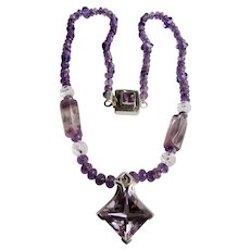 LC Sterling Amethyst Star Cut Gemstone Pendant with Amethyst And Rock Crystal Necklace