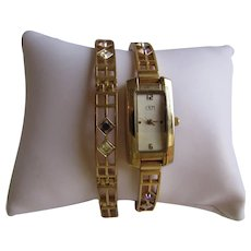 Vintage CRM Henley Collection Matching Charles Rennie MacKintosh Designed Paste Gems set in Gold Plated Watch and Bracelet