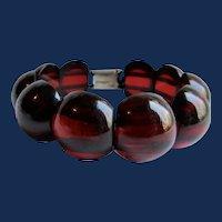 Vintage Natural Carved Red Wine Amber Domed Link Silver Box Clasp Bracelet