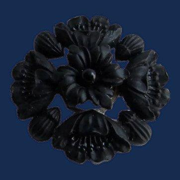 Antique 12k GF Rose Gold Black French Jet Glass Floral Mourning Pin Brooch