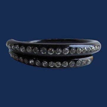 Art Deco Black Celluloid Wrap Inset Rhinestone Small Bracelet