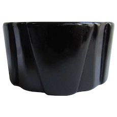 Art Deco Black Bakelite Wide Geometric Sculptural Shaped Bangle Bracelet