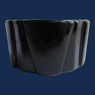 Art Deco Black Bakelite Wide Geometric Sculptural Shaped Bangle Bracelet