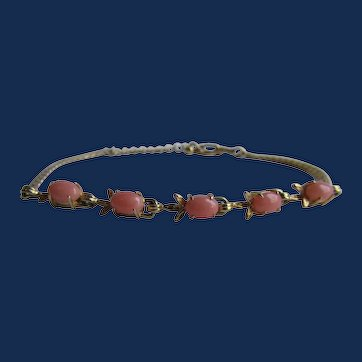 Vintage Natural Coral Cabochon Claw Set 5 with GP Chain and Clasp Bracelet