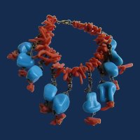 Art Deco Unsigned Miriam Haskell Branch Natural Coral and Blue Glass Drop Bracelet