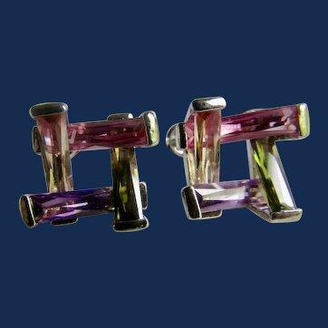 Vintage 18kt White Gold Pink Sapphire, Amethyst, Topaz, Tourmaline Baguettes Bar Channel Pierced Earrings