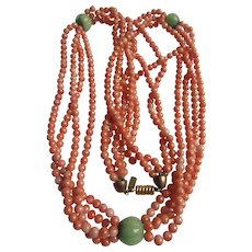 Vintage Signed Kenneth Lane Resin Coral and Resin Green Fluted Beads Festooned Necklace