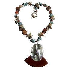 Vintage Signed Miriam Haskell Turquoise, Abalone, Wood Pendant and Necklace with Chain