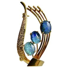 Vintage GP Lyre Shape Doublet Triple Opals Prong Set Brooch