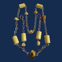 LC Bakelite and Raw Amber Gold Plate Chain Station Necklace and Matching Chain 4 inch Earrings Set
