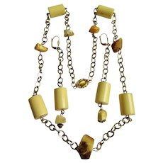 LC Vanilla Bakelite and Raw Egg Yolk and White Amber Gold Plate Chain Station Necklace and Matching Chain 4 inch Earrings Set