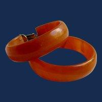Art Deco Vintage Rare Orange Swirl Prystal Bakelite Hoop GP Clip Earrings