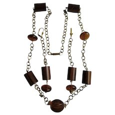LC Bakelite Lacquered Wood  and Natural Pressed Amber Gold Plate Chain Station Necklace and Matching Chain 4 inch Earrings Set