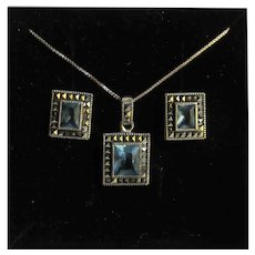 Vintage Sterling Blue Tanzanite Emerald cut Gemstone with Marcasites Frame Pierced Earrings and Pendant Set and Box Link Chain