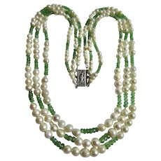 LC Triple Strand Baroque Cultured Pearl and Tsavorite Green Garnet Spacer Bead Necklace