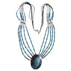 Vintage Navajo Liquid Silver Sleeping Beauty Natural Turquoise 5 Strand Festoon Cabochon Pendant Necklace