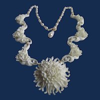 Vintage Meerschaum Infused Bubbleite Chrysanthemum Centrepiece and Sides and Simulated Pearl Chain Extender Necklace