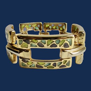 Vintage GP Plique A Jour Resin Panther Link Bracelet