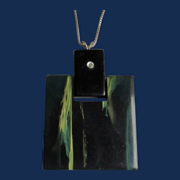 Art Deco Blue Moon Bakelite Square Knocker Style Pendant with Inset Rhinestone on Silver Box link Chain Necklace