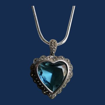 Vintage Large Aquamarine Paste Heart Shape Pendant with Marcasite Silver Frame on Snake Chain Necklace