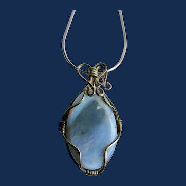 Vintage Hand Crafted Wired Doublet Opal Cabochon Pendant on Sterling 18 inch Snake Chain Necklace
