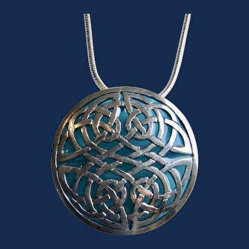 Vintage Large Plique a Jour Concave Celtic Knot Blue Brooch Pendant on Snake Chain Necklace