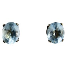 Vintage GP Natural Blue Topaz 4 Prong Oval Pierced Earrings