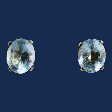 Vintage GP Natural Blue Topaz 4 Prong Oval Pierced Earrings