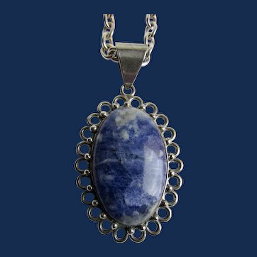 Vintage Sterling Silver Lapis Lazuli Denim Blue Cabochon Pendant on Cable Chain Italian Necklace