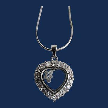 Vintage Sterling Silver Quartz Gemstone Halo Heart Shape Shaker Locket Pendant on Snake Chain Necklace