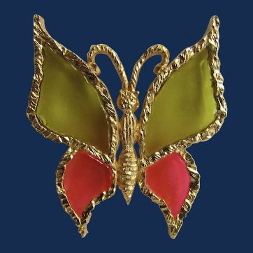 Vintage Brutalist GP Frame Stained Glass Resin Plique a Jour Style Olive and Pink Butterfly Brooch