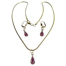 Vintage GP Pink Paste Pear Shaped Drop Pendant and Lever back Pierced Earrings Set with GP Snake Chain